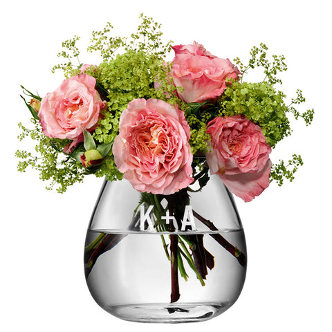 Monogrammed LSA Glass Bouquet Vase