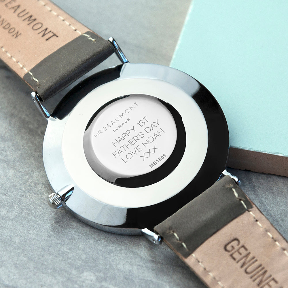 Personalised Mr Beaumont Leather Grey/Silver Case Watch Engraved with Sans Serif Font Option