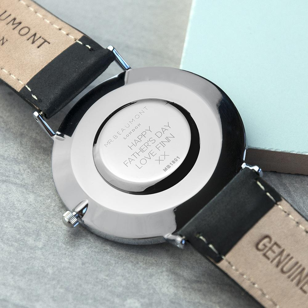 Personalised Mr Beaumont Leather Black/Silver Case Watch Engraved with Sans Serif Font
