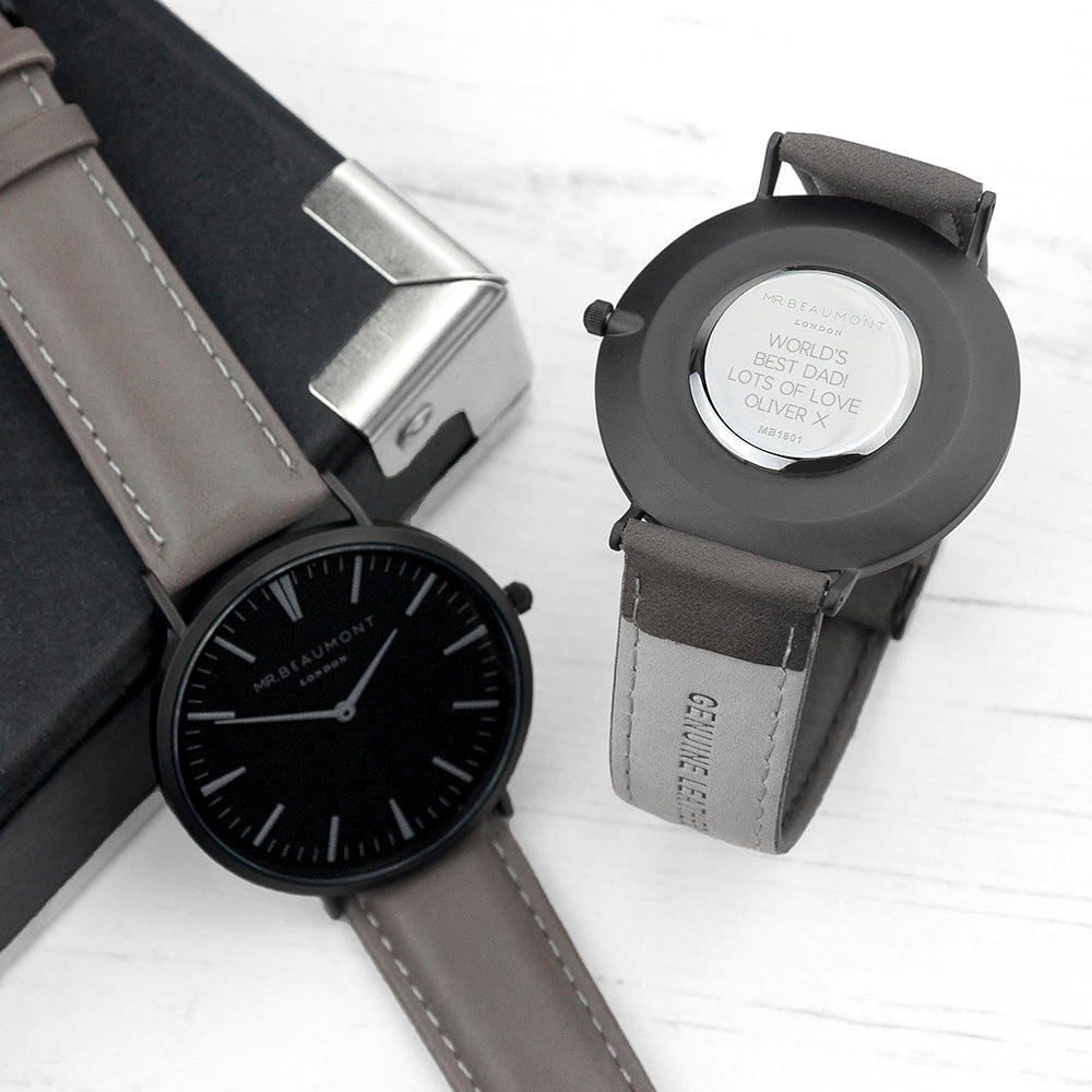 Personalised Mr Beaumont Leather Matt Grey Watch Engraved With Sans Serif Font Option