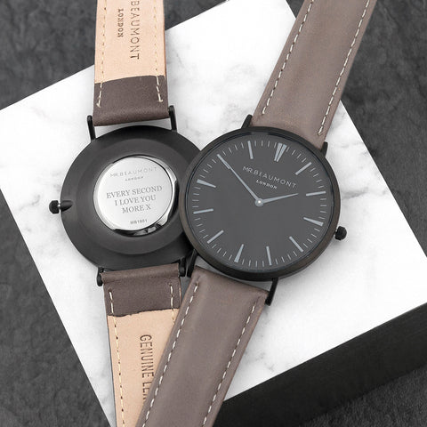 Personalised Mr Beaumont Leather Matt Grey Watch Engraved With Serif Font Option