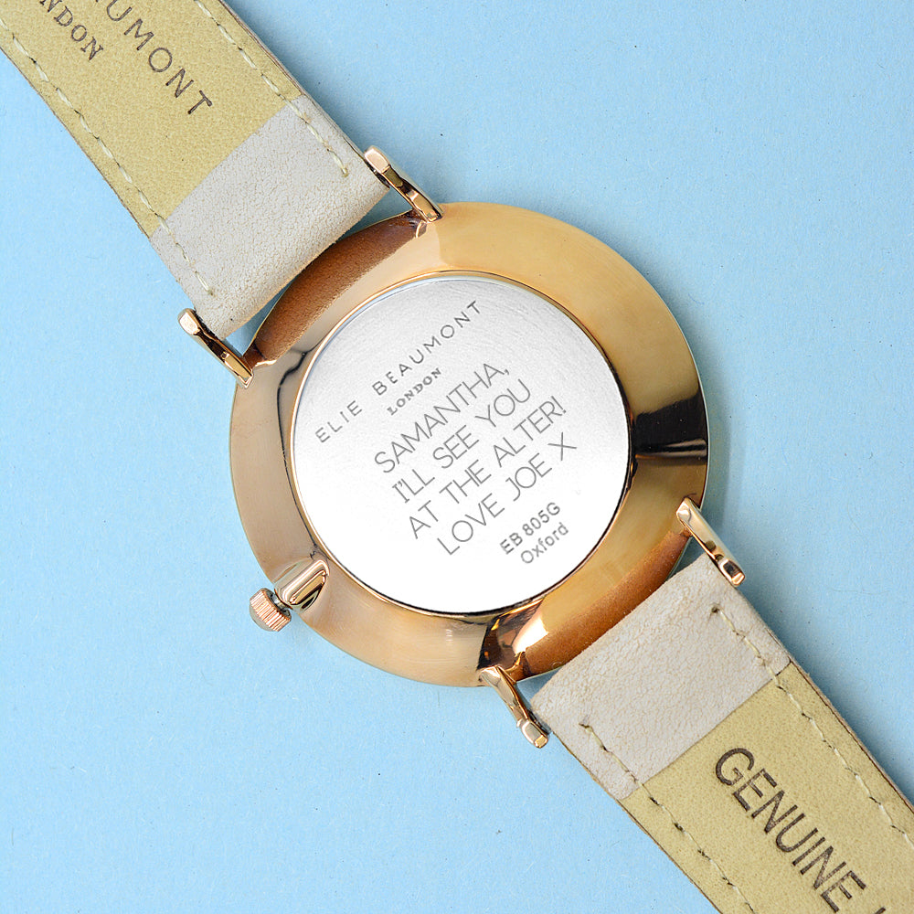 Sans Serif Font Engraved on Personalised Elie Beaumont Oxford Large Stone/White Watch