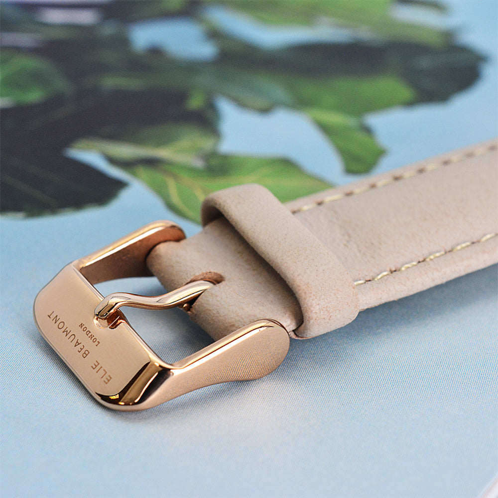 Close up of Strap on Personalised Elie Beaumont Oxford Large Stone/White Watch