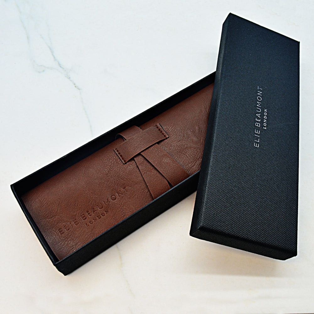 Leather Watch Protector and Gift Box for Personalised Elie Beaumont Oxford Large Stone/White Watch