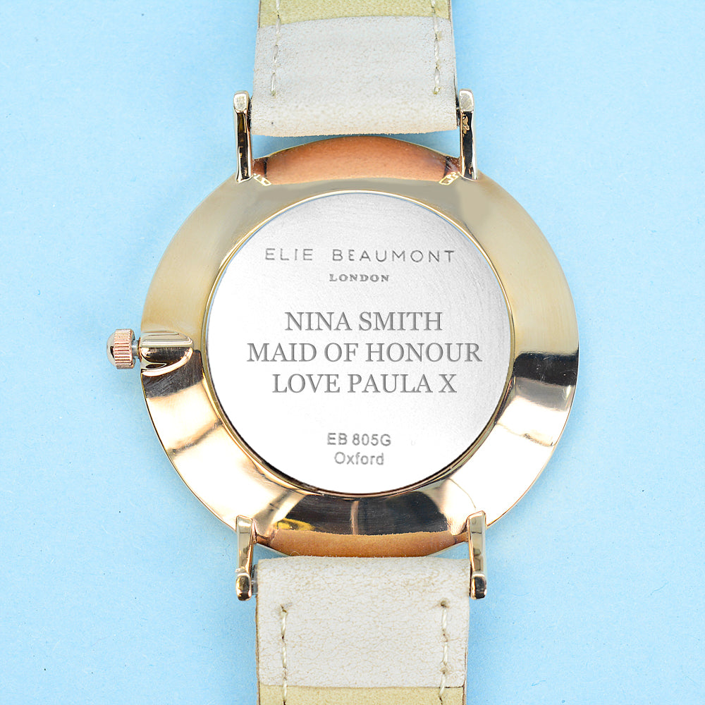 Serif Font Engraved on Personalised Elie Beaumont Oxford Large Stone/White Watch