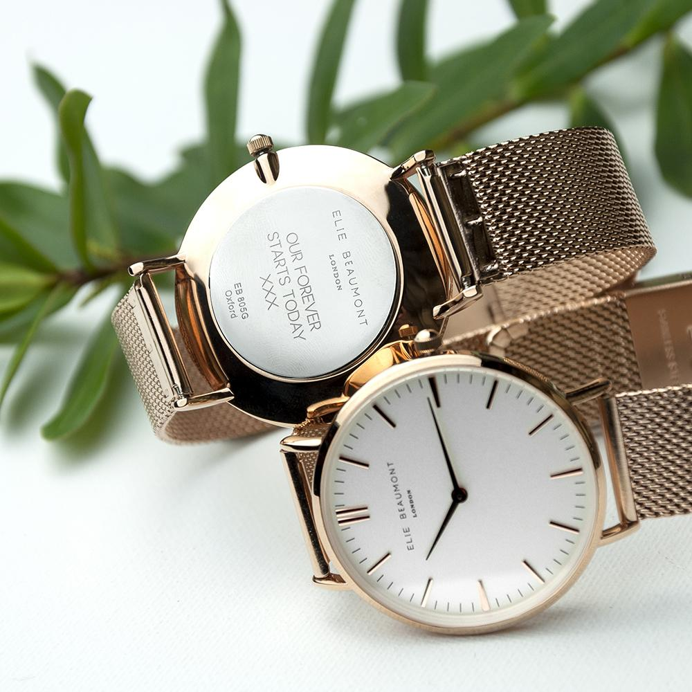 Personalised Elie Beaumont Oxford Large Mesh Rosegold Watch Engraved with Sans Serif font