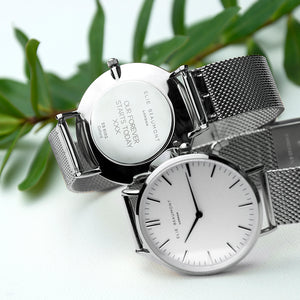 Personalised Elie Beaumont Oxford Large White and Silver Mesh Strap Watch Engraved with Sans Serif font