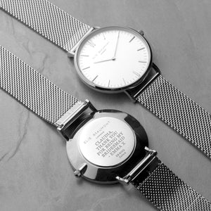 Personalised Elie Beaumont Oxford Large White and Silver Mesh Strap Watch Engraved with Serif font
