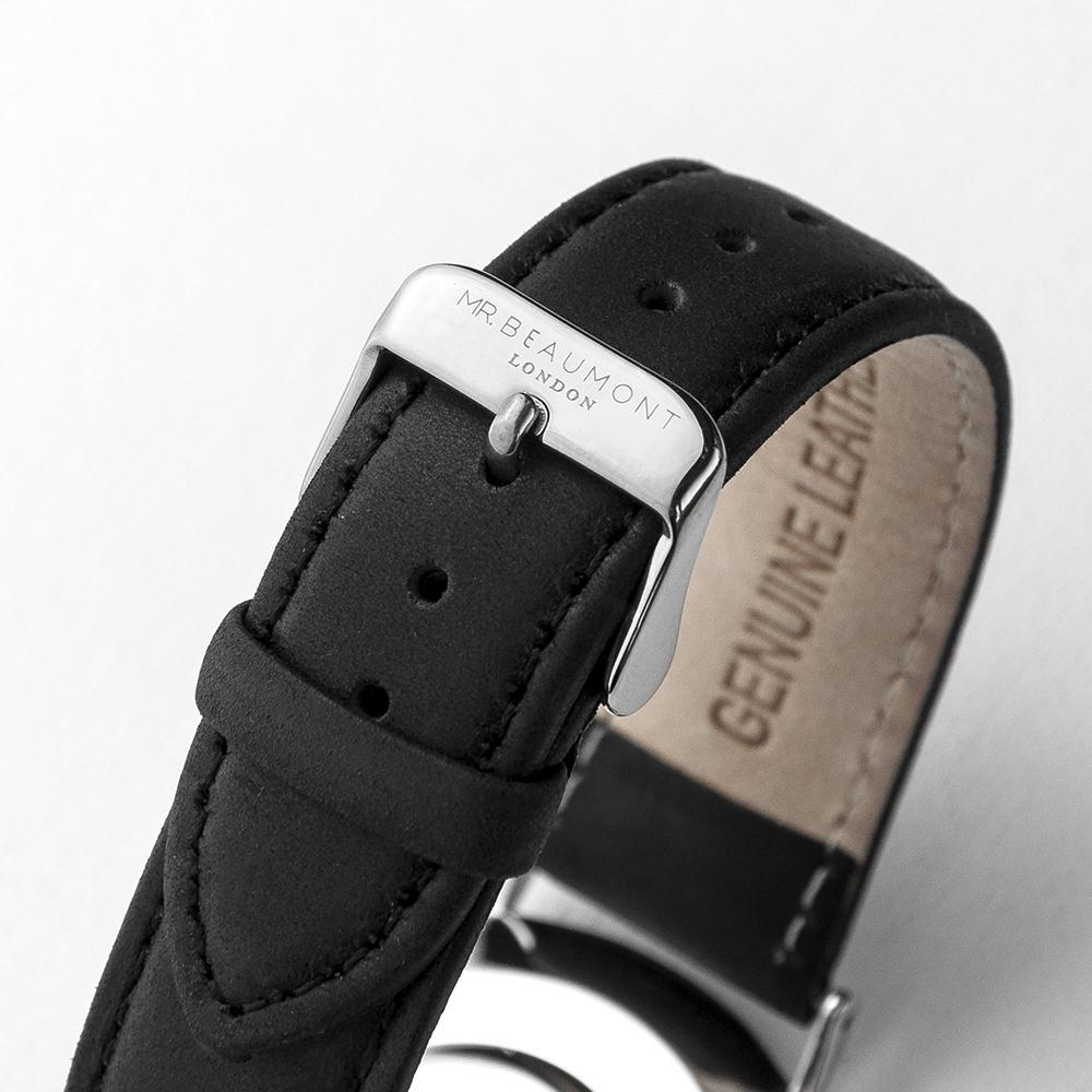 Strap View of Personalised Mr Beaumont Leather Black/Silver Case Watch