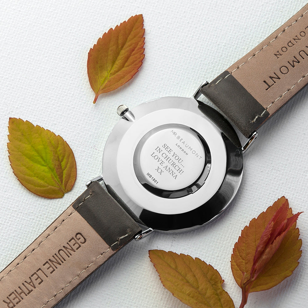 Personalised Mr Beaumont Leather Grey/Silver Case Watch Engraved with Serif Font Option