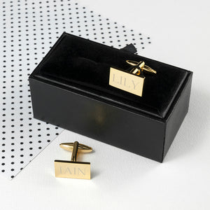 Personalised Gold Plated Rectangular Cufflinks