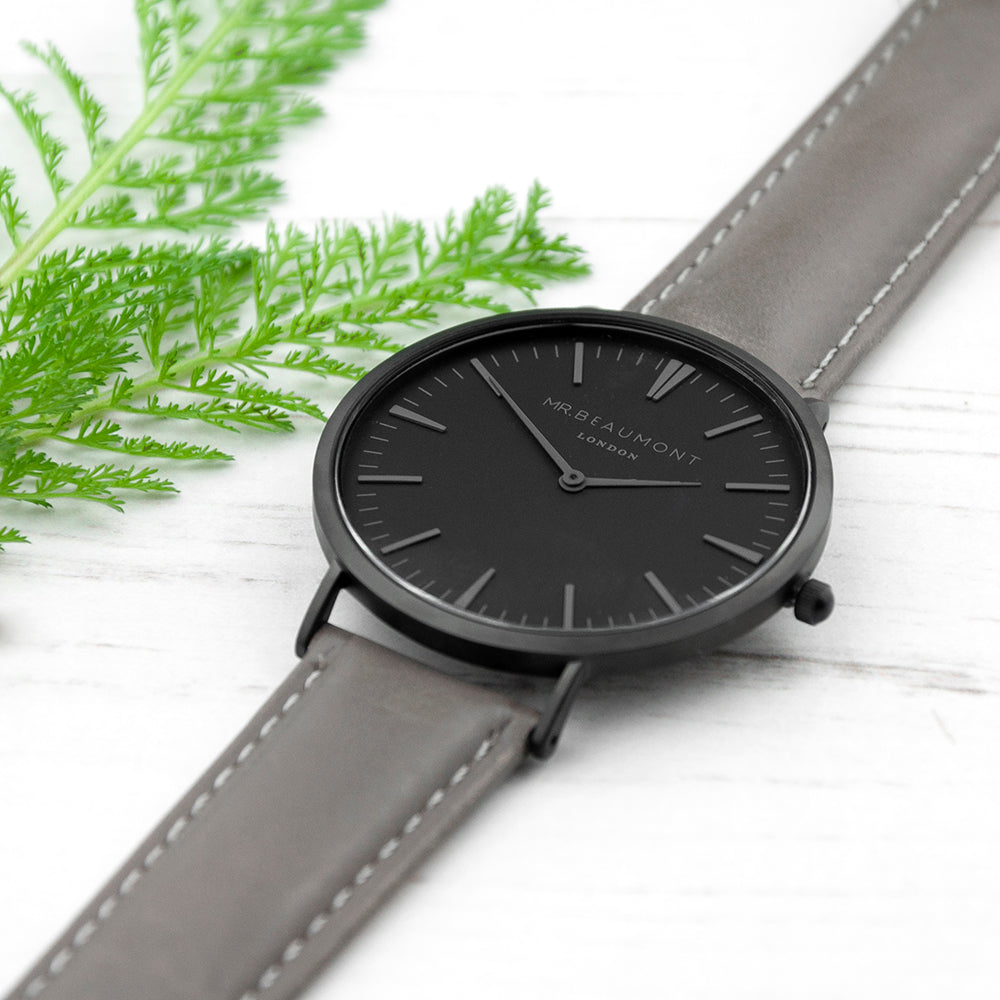 Personalised Mr Beaumont Leather Matt Grey Watch