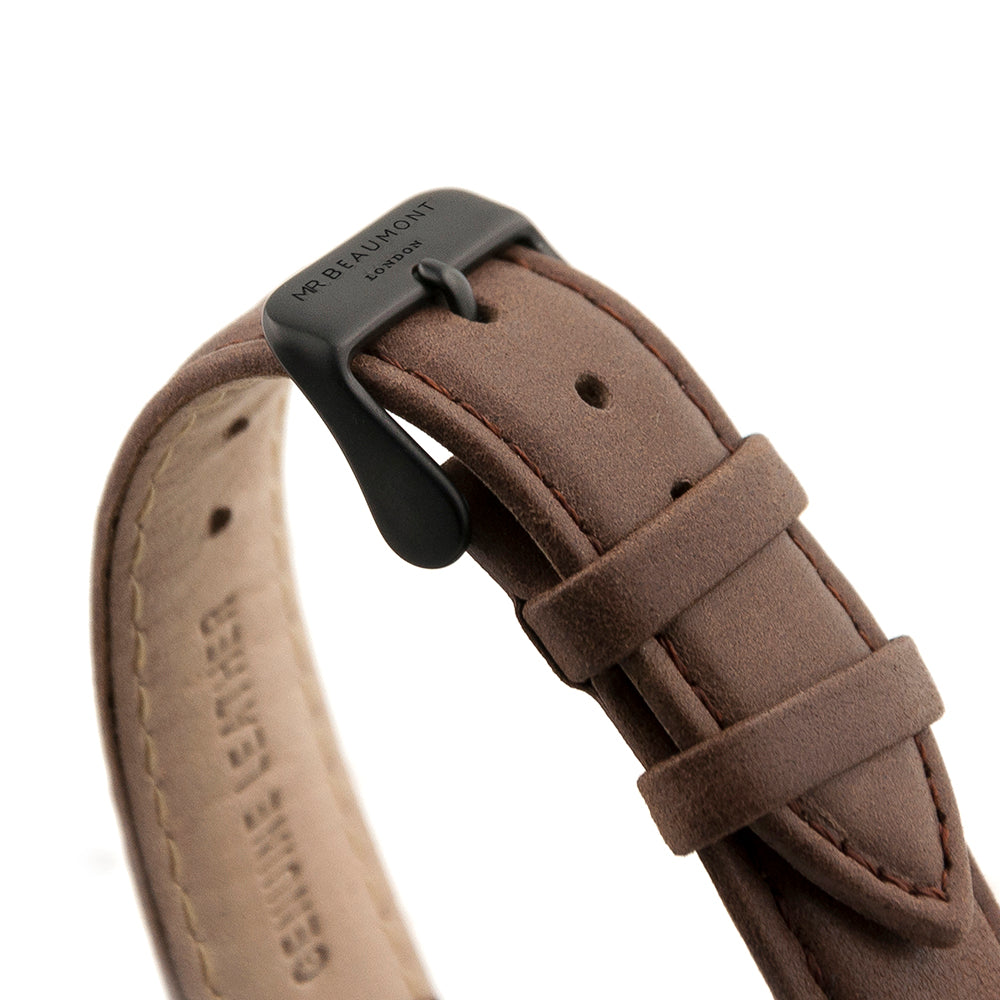 Close Up Photo of Strap for Personalised Mr Beaumont Leather Matt Brown Watch