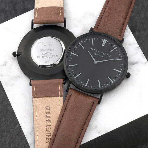 Personalised Mr Beaumont Black Faced Watch with Brown Leather Strap