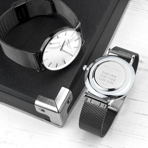Personalised Mr Beaumont Mesh Gun Metal Watch Engraved with Sans Serif Font
