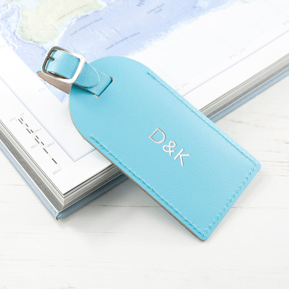 Personalised Leather Luggage Tag in Pastel Blue