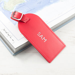 Personalised Leather Luggage Tag in Red