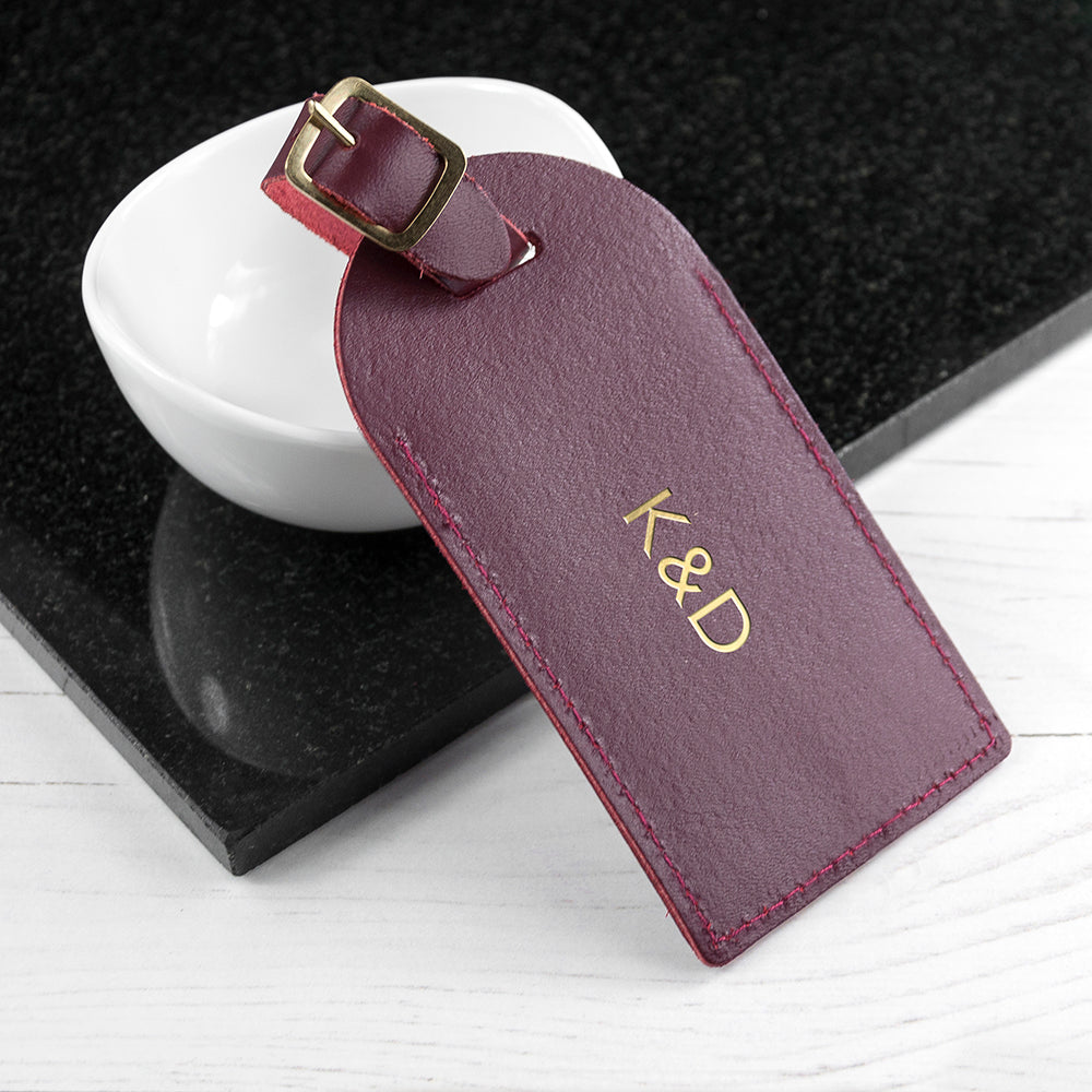 Personalised Leather Luggage Tag in Burgundy