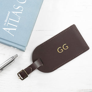 Personalised Leather Luggage Tag in Brown