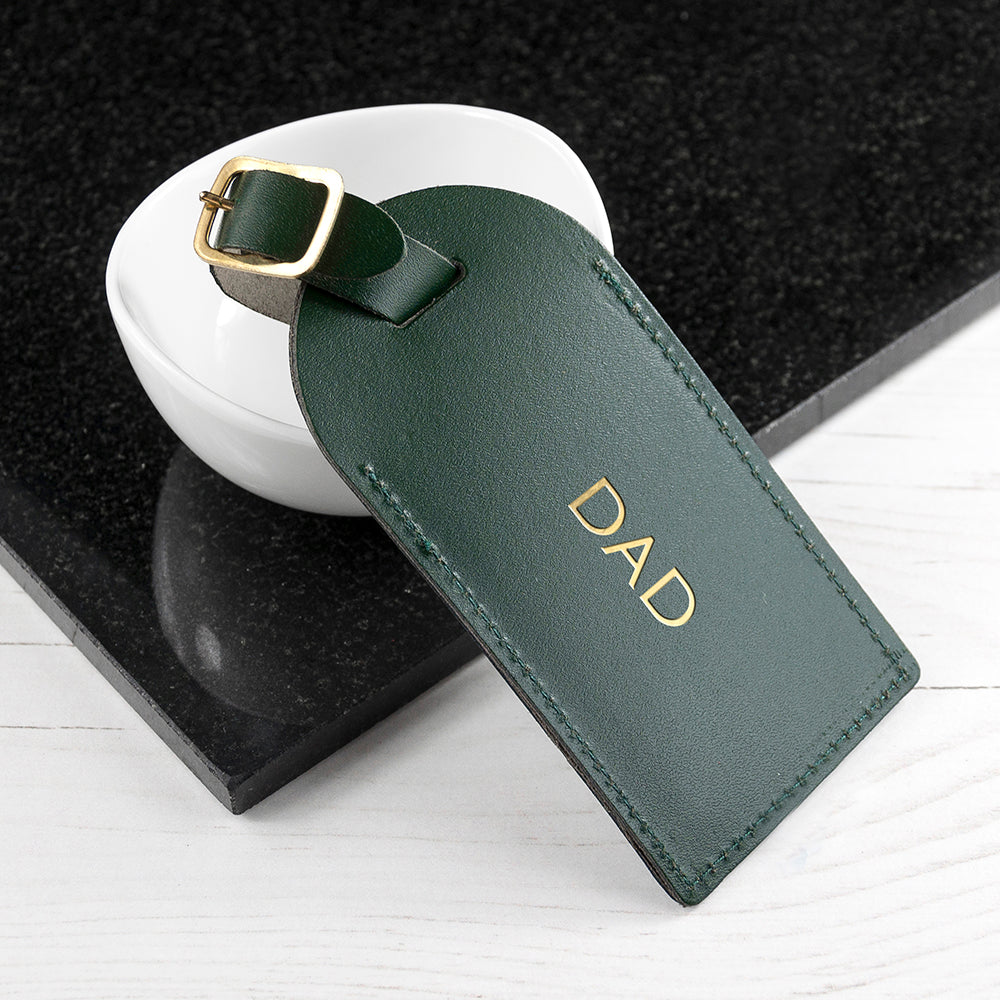 Personalised Leather Luggage Tag in Dark Green
