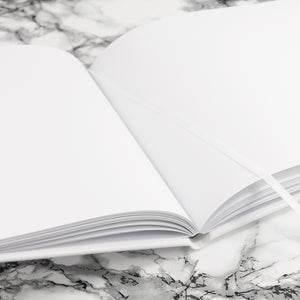 Internal Image of Personalised White Leather Guest Book available in 3 sizes