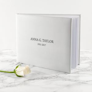 Engraved White Leather Memorial Book Small Size