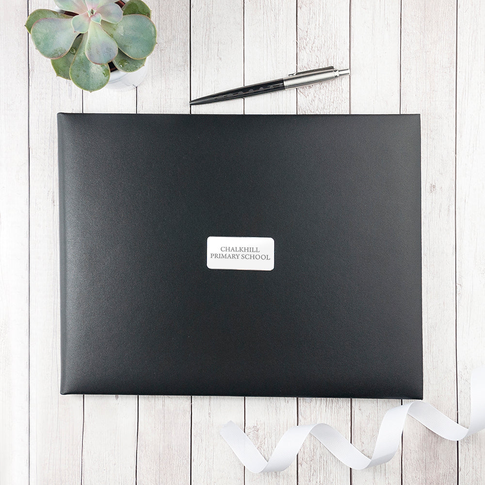 Personalised Leather Visitors Book in Black