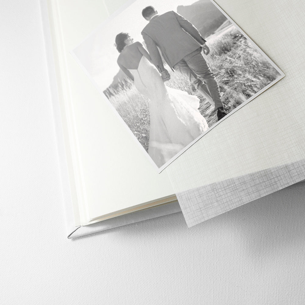 Internal Pages of Engraved White Leather Photo Album Available in 3 Sizes