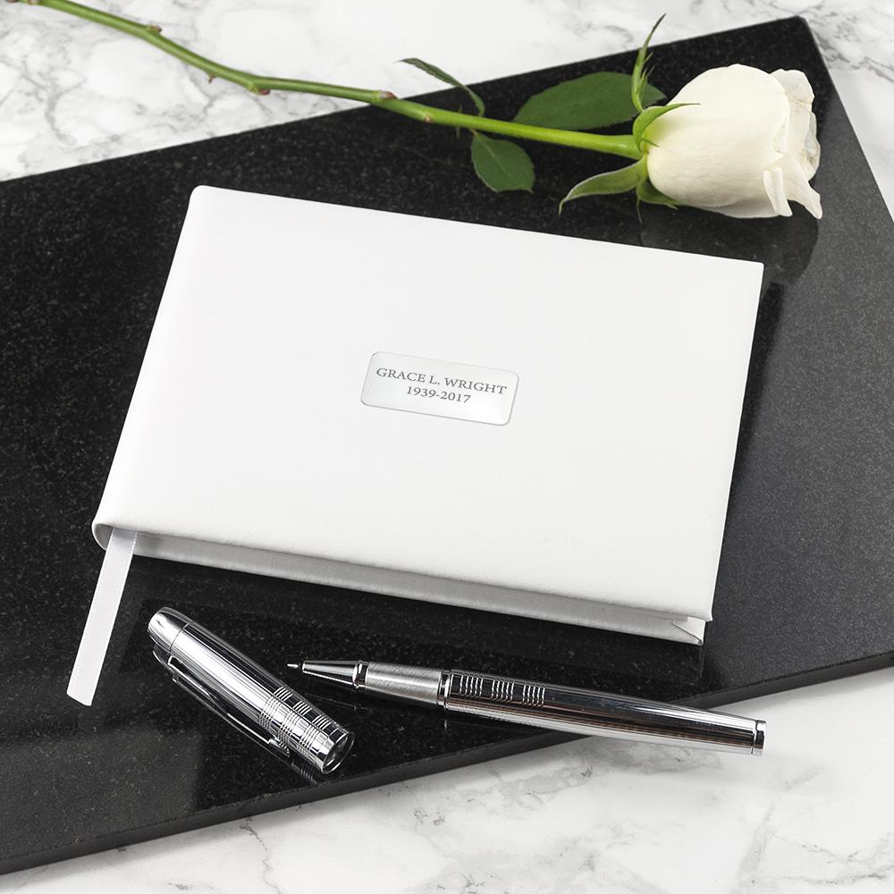 Personalised White Leather Memorial Book