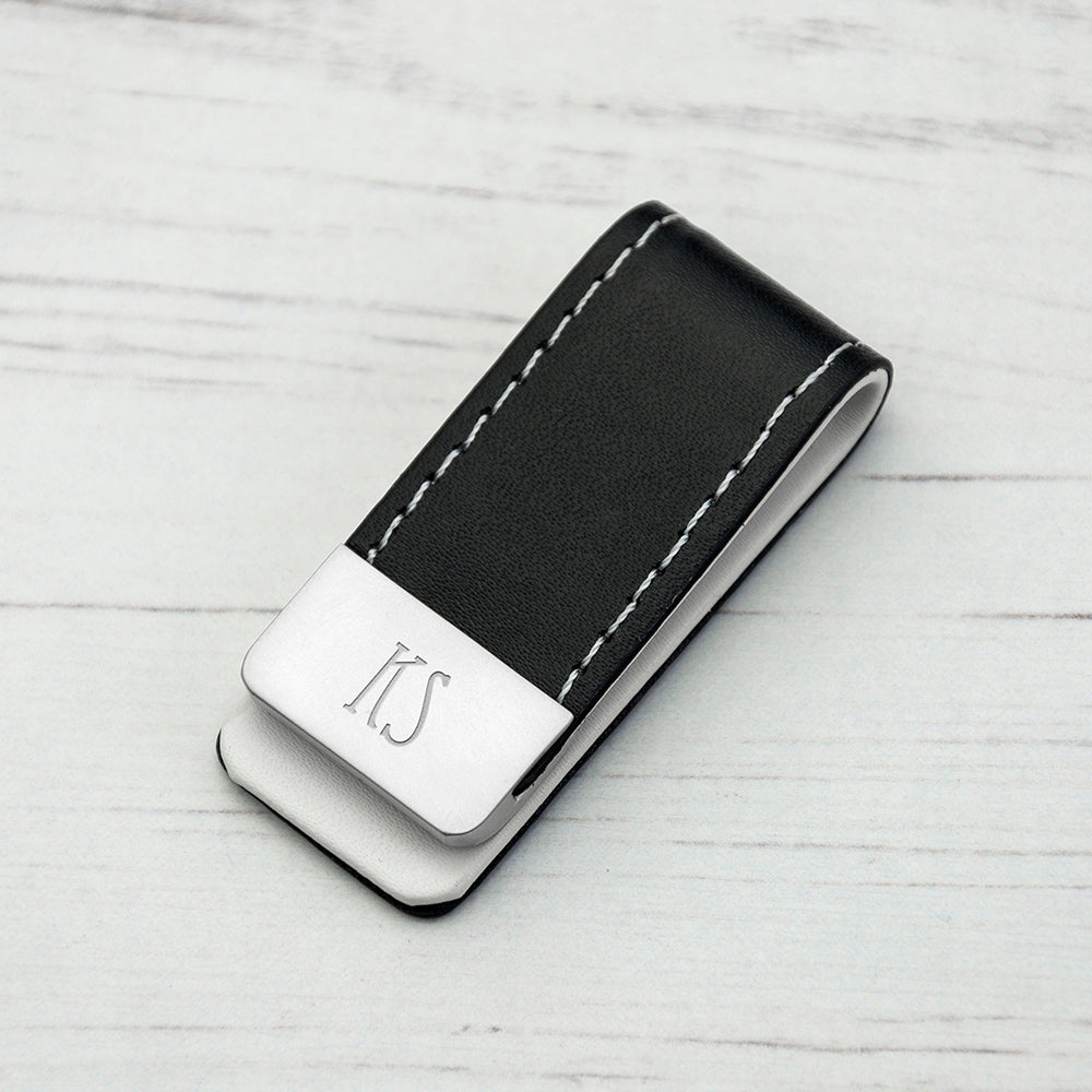 Personalised Black Leather Money Clip with Tall Font