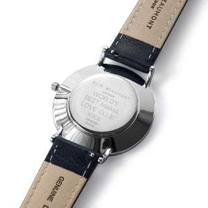 Personalised Elie Beaumont Oxford Large Blue Silver Watch Engraved with Sans Serif Font Option