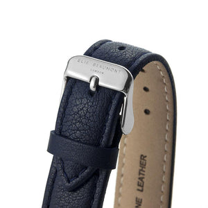 Close up view of strap on Personalised Elie Beaumont Oxford Large Blue Silver Watch