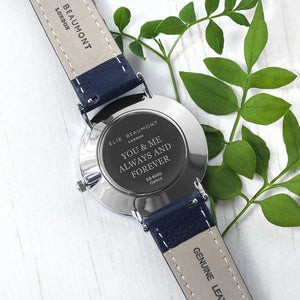 Personalised Elie Beaumont Oxford Large Blue Silver Watch Engraved with Serif Font Option