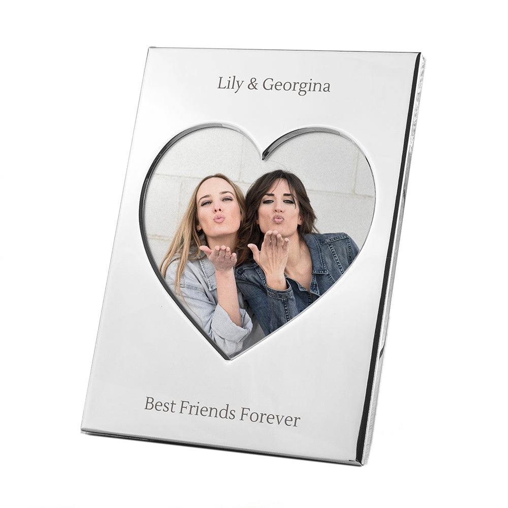 Engraved Silver Plated Heart Photo Frame