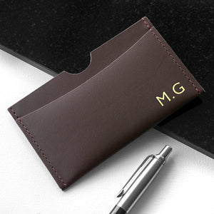 Brown Personalised Leather Card Holder