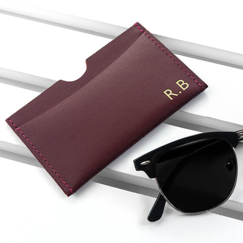 Burgundy Personalised Leather Card Holder