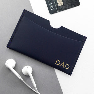 Navy Personalised Leather Card Holder