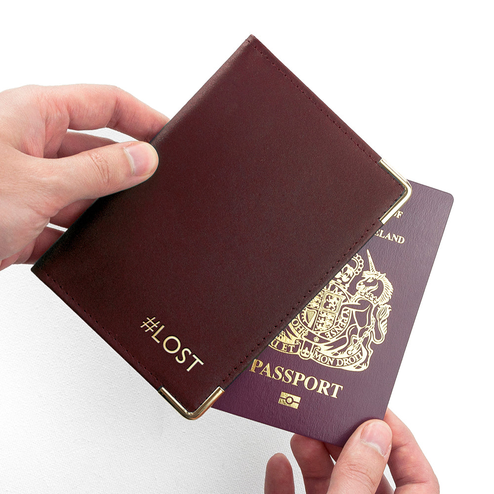 Personalised leather passport holder in burgundy
