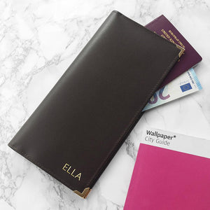 Black Leather Personalised Travel Card Holder