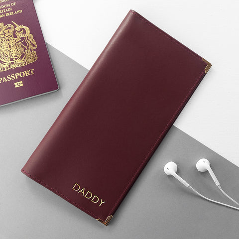 Burgundy Leather Personalised Travel Card Holder