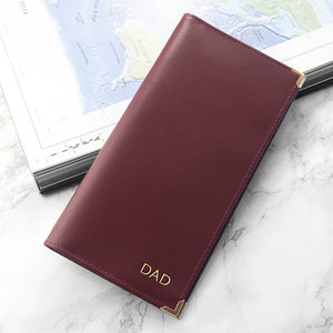 Burgundy Personalised Leather Travel Wallet