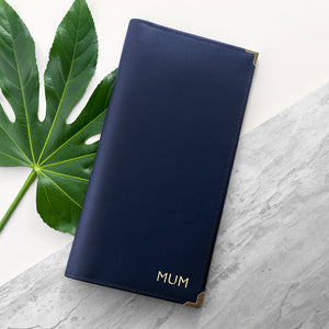 Navy Personalised Leather Travel Wallet