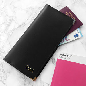 Black Personalised Leather Travel Wallet