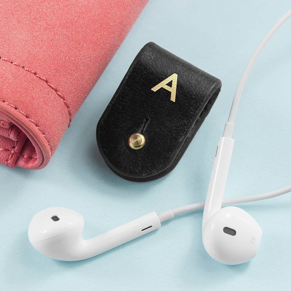 Monogrammed Black Leather Earphones Holder