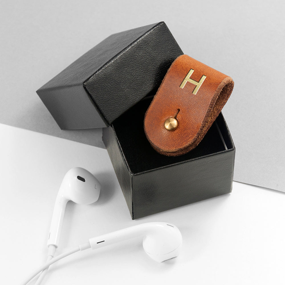 Monogrammed Tan Leather Earphones Holder