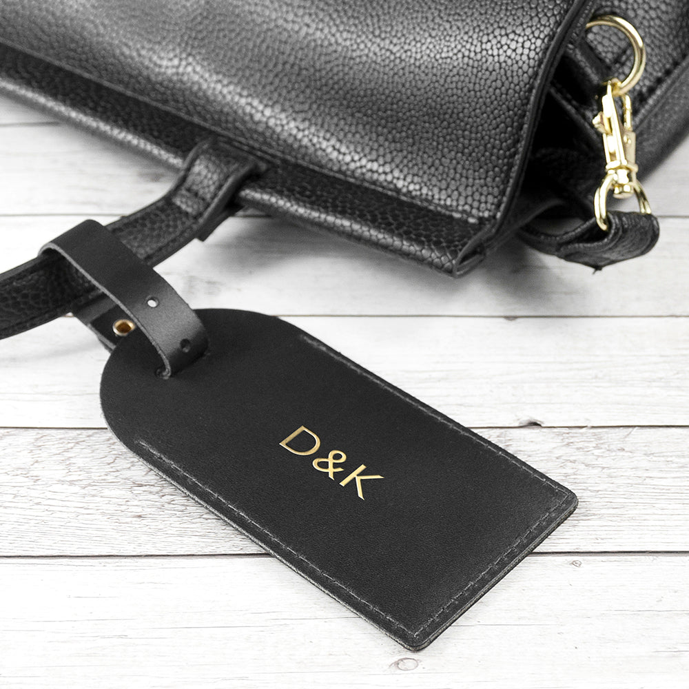 Personalised Leather Luggage Tag in Black
