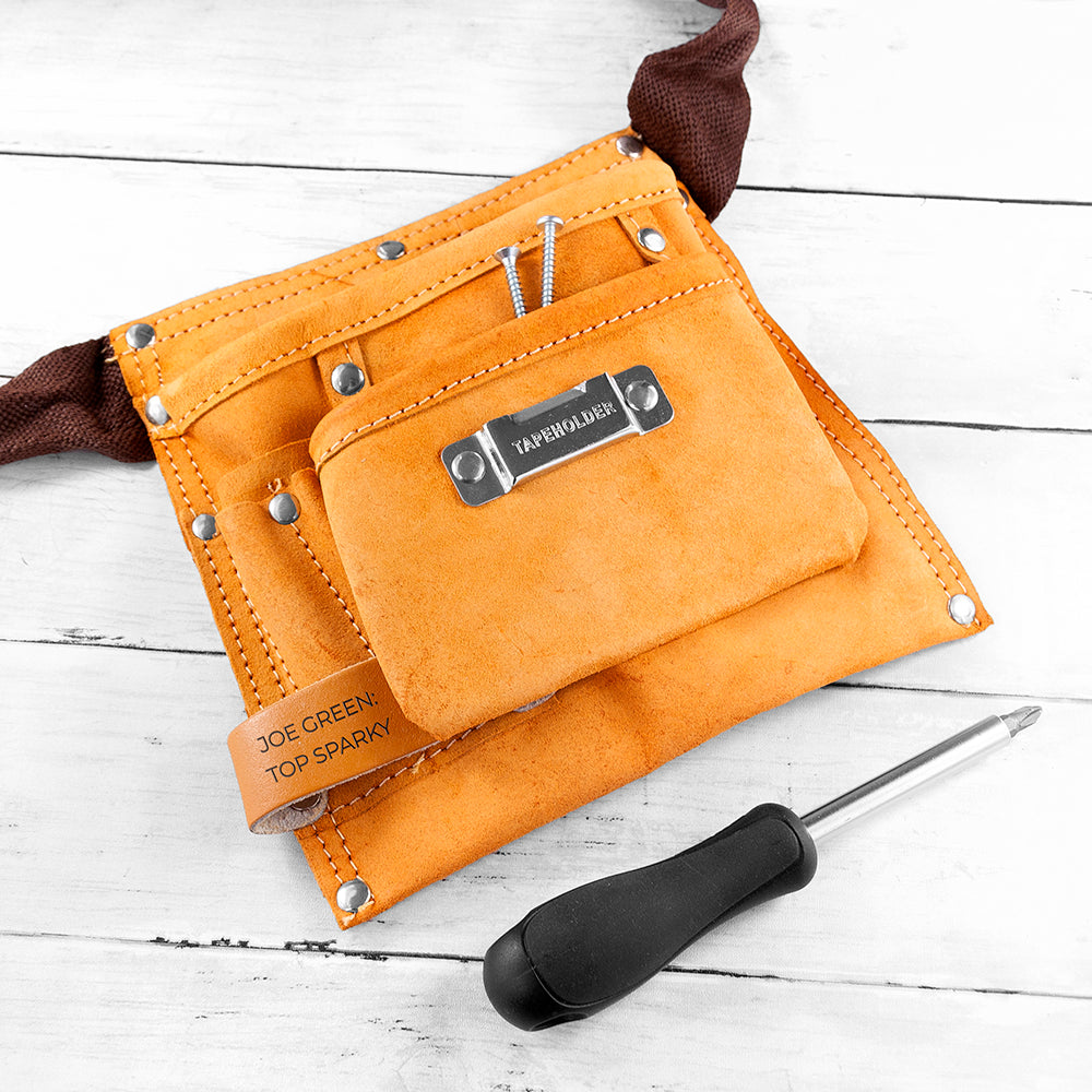 Personalised leather tool belt with 6 pockets and tape measure holder