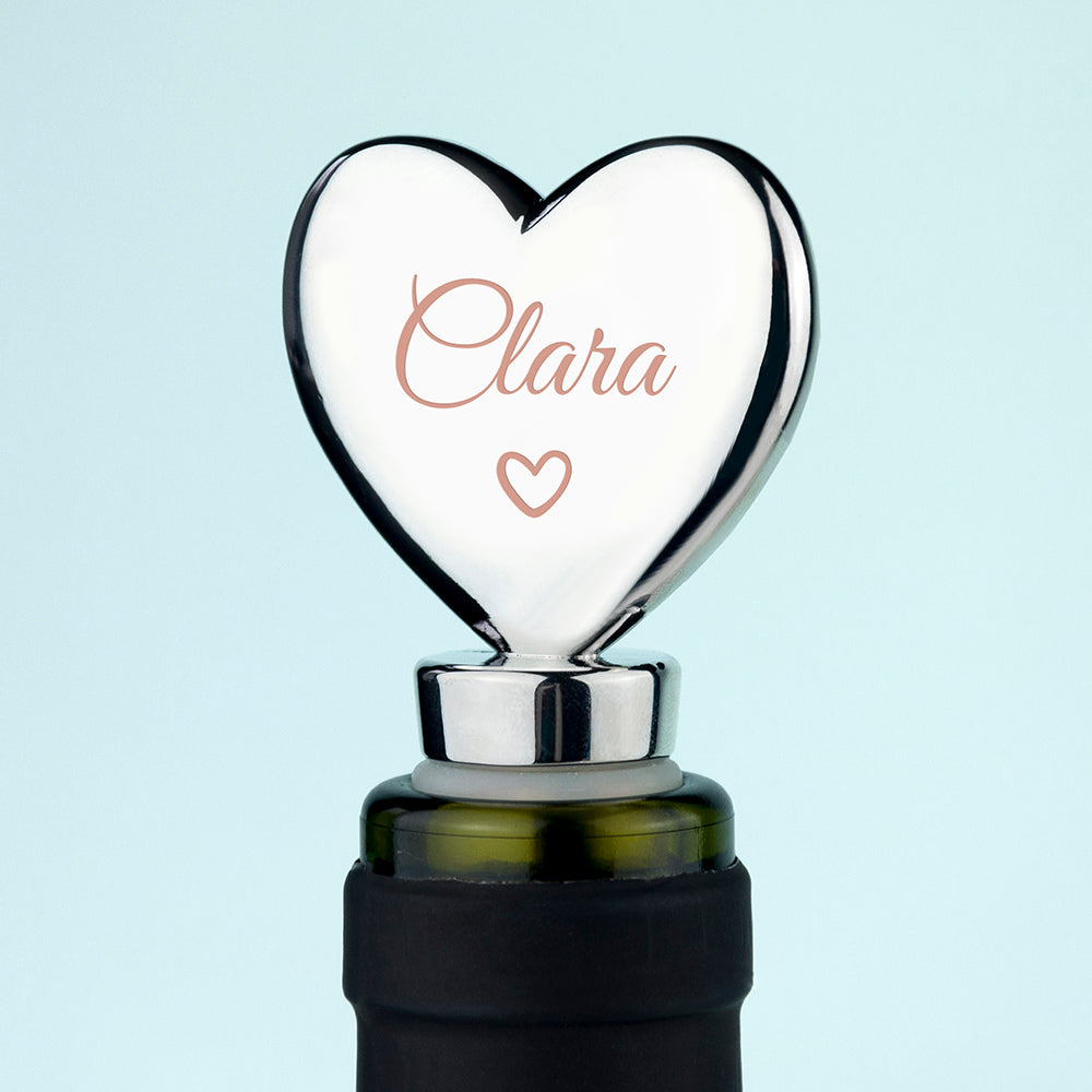 Personalised Heart Shaped Bottle Stopper with Silver Plating