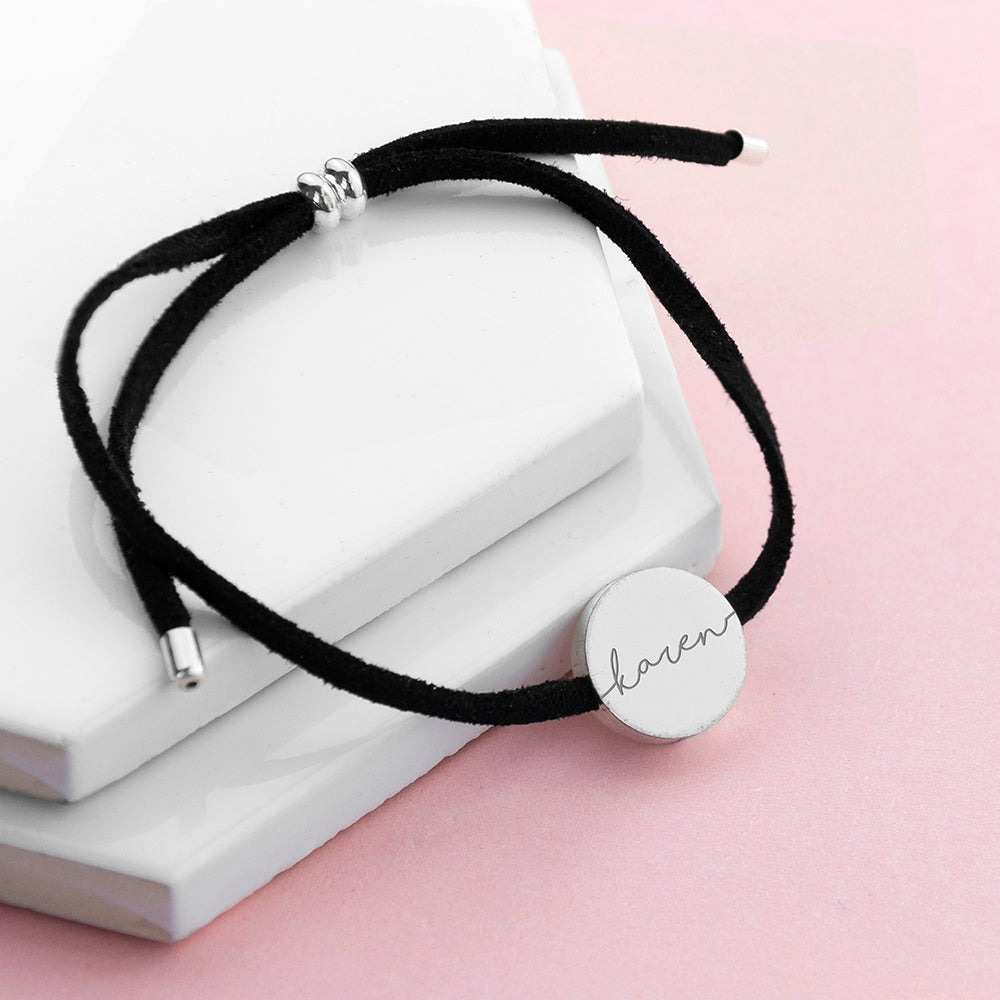 Personalised Black Suede Bracelet wtih Silver Coloured Tag