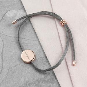 Personalised Grey Suede Bracelet wtih Rose Gold Coloured Tag